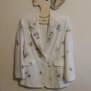 Embroidered White Blazer